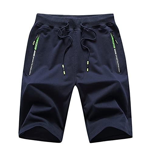 Leezepro Pantalones Cortos Deportivos para Hombre Pantalón Correr con Bolsillo con Cremallera Shorts Deportivos (L, Azul)