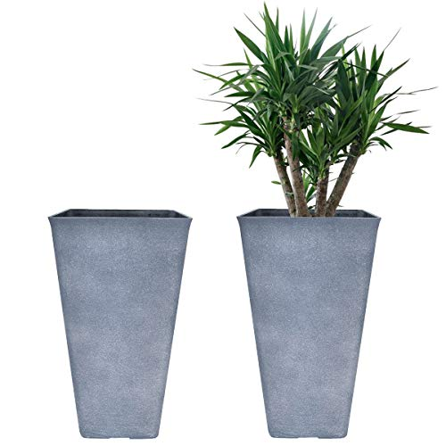 LA JOLIE MUSE Tall Planters 20 Inch, Flower Pot Pack 2, Patio Deck Indoor Outdoor Garden Tree Planters (Weathered Gray)