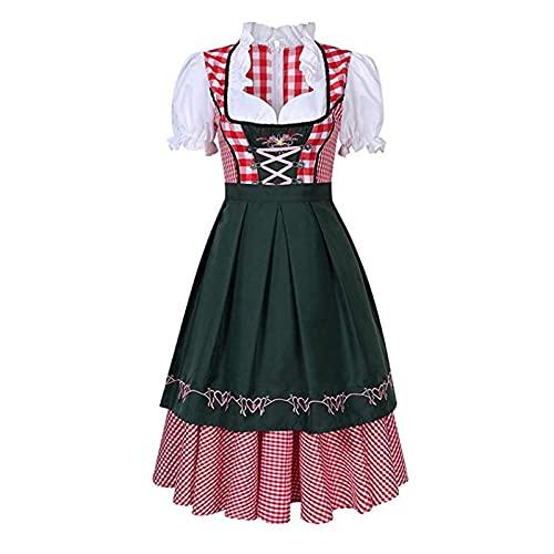 Conjunto de 3 piezas para mujer, diseo de Oktoberfest, estilo Dirndl, vestido formal, uniforme de criada, disfraz de bvaro, delantal, verde oscuro, L