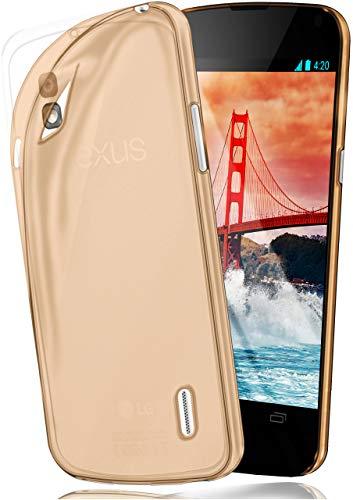 MoEx Funda [Transparente] Compatible con LG Google Nexus 5 | Ultrafina y Antideslizante - Dorado