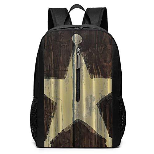 ZYWL Southwestern Primitive Rustic Holz Lone Star Sheriff 's Badge Rucksack, Business Durable Laptop Rucksack, Wasserbeständige College School Computer Tasche Geschenke für Männer Frauen, 17in x 12in