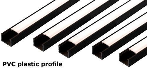 LED-Profilkanal mit milchigem Abdeckprofil, 16 x 11 mm, für Lichtleisten, PVC-Profil für LED-Streifen, 10 m (5cm x 2m) Schwarz