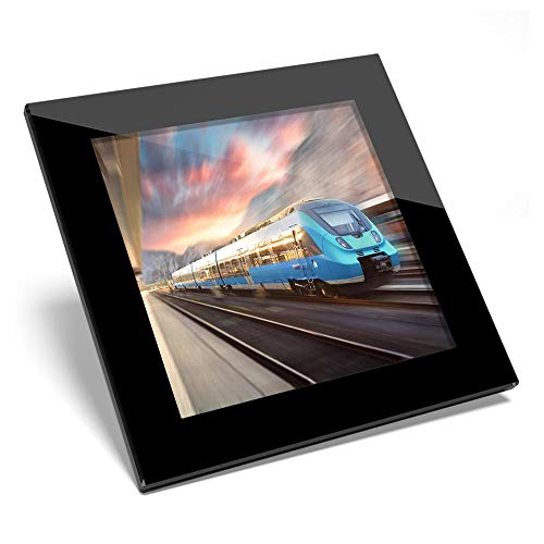 Posavasos de cristal impresionante – azul de alta velocidad tren de cercanías brillante calidad posavasos/protección de mesa para cualquier tipo de mesa #44368