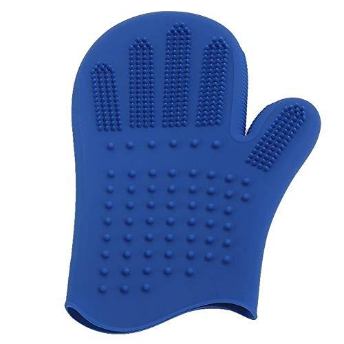 YUNGYE Haustier Hund Katze Bad Kamm Silikon Handschuh Haarpflege Massagebürste Kamm Haustier Bad Handschuh Zubehör Badekamm (Color : Blue Bath Glove, Size : M)
