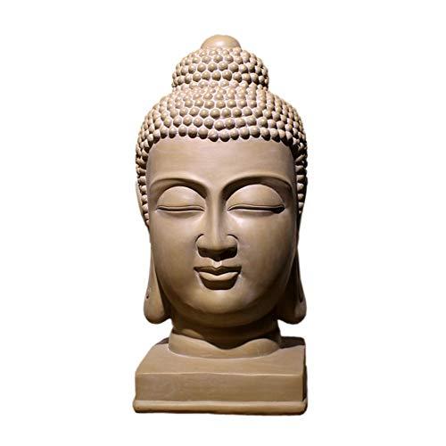 SDBRKYH Buda Cabeza de la Estatua de Buda, Suministros Busto Escultura Decoración Interior del jardín al Aire Libre decoración del hogar Resina Antiguo Retro Zen religiosas