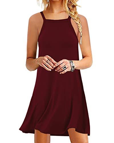 YOINS Damen Kleider Sommer Tshirtkleid für Damen Kleider Knielang Tunika Winterkleid V-Ausschnitt Elegant Brautkleid,Ärmellos-weinrot,M