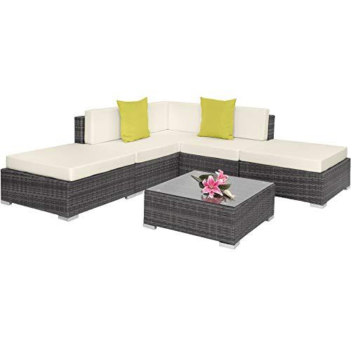TecTake 800888 Aluminium Polyrattan Lounge, Sitzgruppe mit Glastisch, Sofa Tisch Set, für Garten, Balkon und Terrasse, inkl. Kissen (Grau | Nr. 403832)