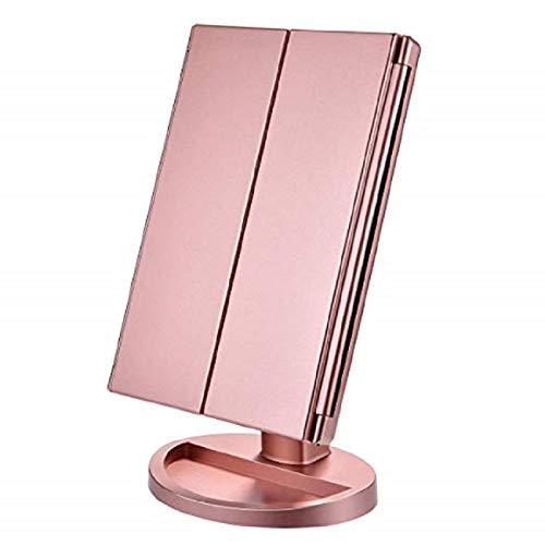 LED Makeup Vanity Mirror with Lights, 2X/3X Magnification, 22Led Lighted Mirror with Touch Screen,180° Adjustable Rotation,Dual Power Supply,Portable Trifold Mirror