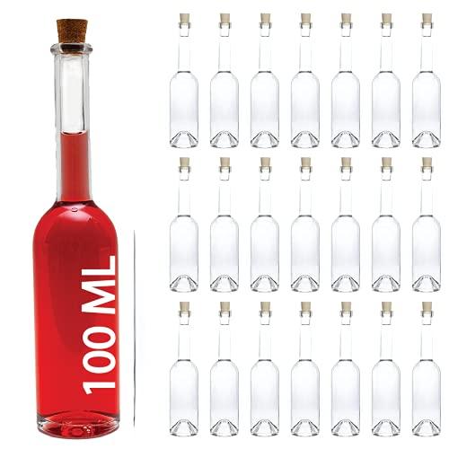 slkfactory - 12 Bottiglie di Vetro vuote da 100 ml, per liquori, Grappa e aceto, 0,1 l, Altezza 19 cm