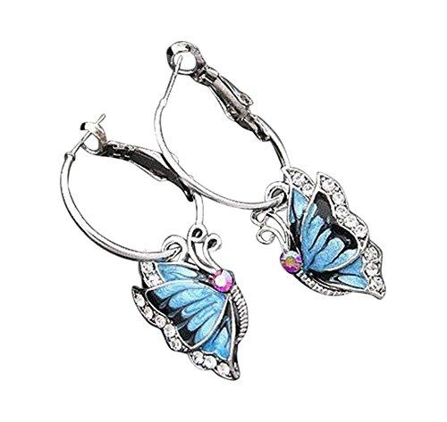 Orecchini a cerchio per bambini, orecchini a forma di farfalla, con strass, argento e blu