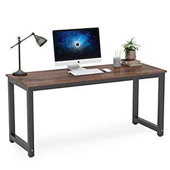 Tribesigns Computer Desk 63 inch Large Office Desk Computer Table Study Writing Desk Workstation for Home Office Rustic Brown