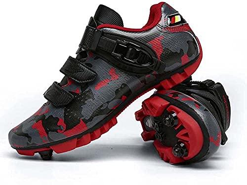 Zapatillas de Ciclismo MTB Para Hombre Zapatillas de Bicicleta de Montaña SPD Zapatillas de Bicicleta de Carretera Zapatillas de Ciclismo Transpirables Para Exteriores Compatibles con Tacos SPD,Red-47