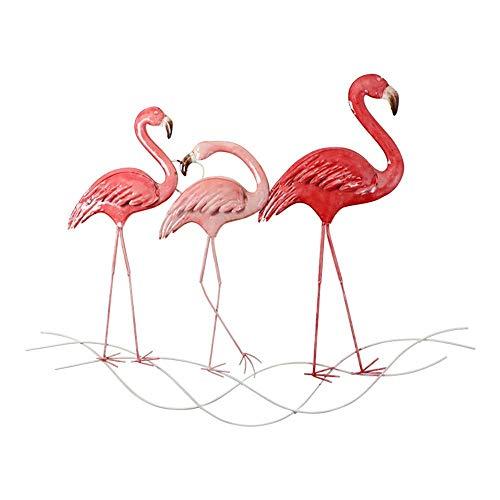 ZHICHUAN Arte Ilustraciones de la Pared la Pared Del Metal, Flamenco Estéreo Hierro Forjado Tapices para la Decoración Creativa Interior Y Exterior Jardín - Serie Roja (3 Estilos) L