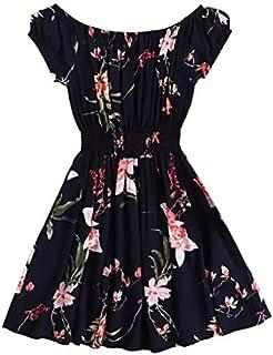 Lotus.Flower Women Fashion Sexy Short Sleeve Beach O-Neck Printed Short Dress