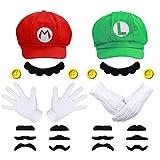 Super Mario Luigi Mütze + 4X Handschuhe + 14x Bart + 4X 38mm Knöpfe gelb Kostüm für Fasching...
