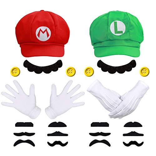 Super Mario Luigi Mütze + 4X Handschuhe + 14x Bart + 4X 38mm Knöpfe gelb Kostüm für Fasching Karneval Köln Cosplay für Kinder Damen Herren