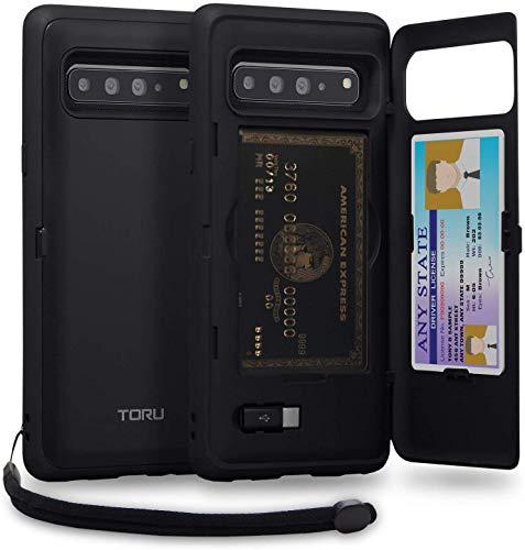TORU CX PRO Cover Galaxy S10 5G Custodia con Slot Carte di Credito Nascosto, Adattatore USB, Specchio e Cinghia da Polso Lanyard per Samsung Galaxy S10 5G (2019) - Nero Opaco