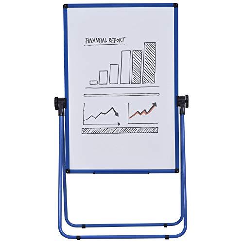 Chevalet de conférence pliable - tableau blanc magnétique double face - pivotant, réglable en hauteur 73L x 45l x 92-158H cm - bleu