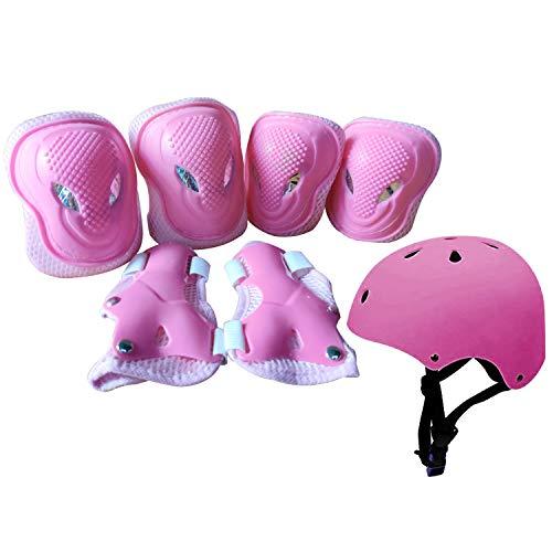 ZHENGYI Schonerset Kinder Protektoren Schützer inliner Schutzausrüstung Kinder Knieschoner Set mit Helm für inliner Skateboard Fahrrad Rollschuh (Color : Pink)