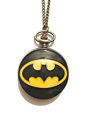 giulyscreations Collier Montre Batman en métal sans nickel Inspiré Comics Superhéros Cartons Animés Homme Chauve-souris Logo Fantasy Cosplay