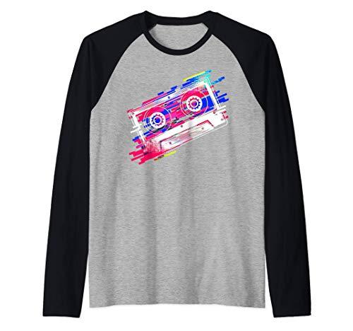 Disfraz de cinta de cassette 80s 90s Vintage Retro Mixtape Camiseta Manga Raglan