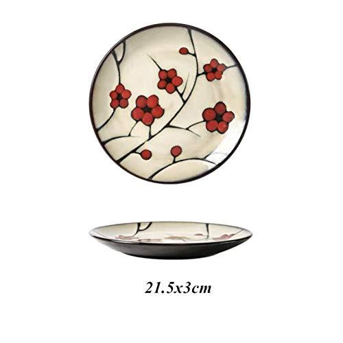 Platos llanos Cerámica pintada a mano debajo del esmalte de flores de hoja placa placa de carne de filete creativo ensalada de sushi plato postre placa de pastel de cocina vajilla Juego de platos blan