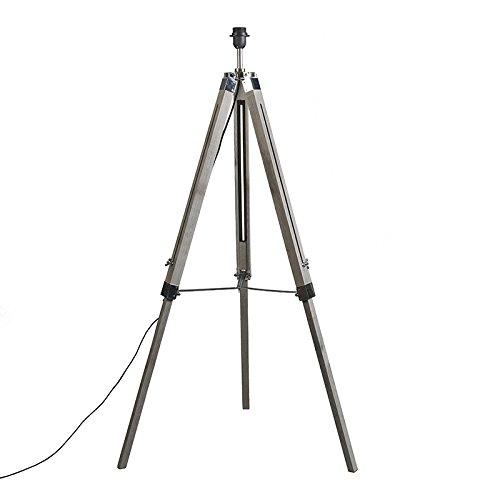 QAZQA Industrieel Landelijke vloerlamp grijs zonder kap - Tripod vintage Hout/Metaal Langwerpig Geschikt voor LED Max. 1 x 25 Watt