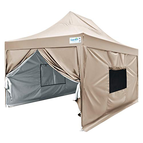 Quictent 10x15 Easy Pop up Canopy Tent Enclosed Instant Outdoor Canopy Shelter with Sidewalls Waterproof (Beige)