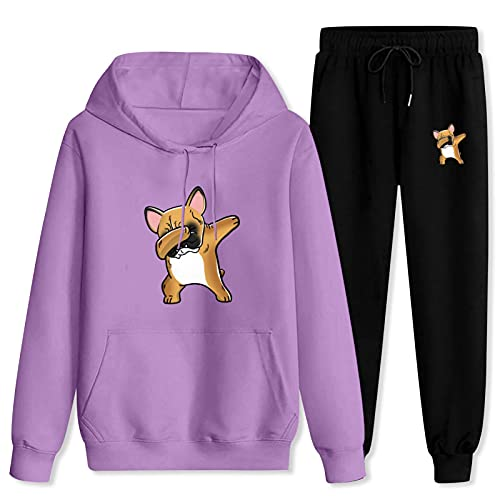 Jsmllia Men's Tracksuit Funny-French-Bulldog Hoodie Sweatpants,3D Print Pullover Hoodie for Men with Pockets Medium Purple and Black