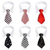 Segarty Dog Necktie, 6 PCS Pets Dog Cat Classic Neck Tie Dog Tuxedo Bow Tie Collar with Black Red Pink Striped Tie, Dog Costumes Bowties for Small Medium Male Boy Dogs Wedding Valentines Suit Groom