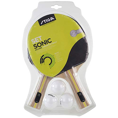 Stiga Sonic 2 Bats + 3 Tabletennis Racket Und Ball Set, Black/Red, One Size