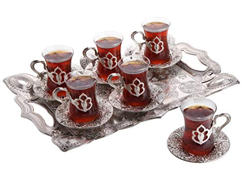 Turkish Tea Set with Tray, Glass Tea Cups Saucer Set 6, Tea Set Women Men Adults, Tea Mug, Coffee Tea Party Accessories, Turkish Tea Glasses, Afternoon Tea Lovers Teacup, Fancy Tea Service (Silver)
