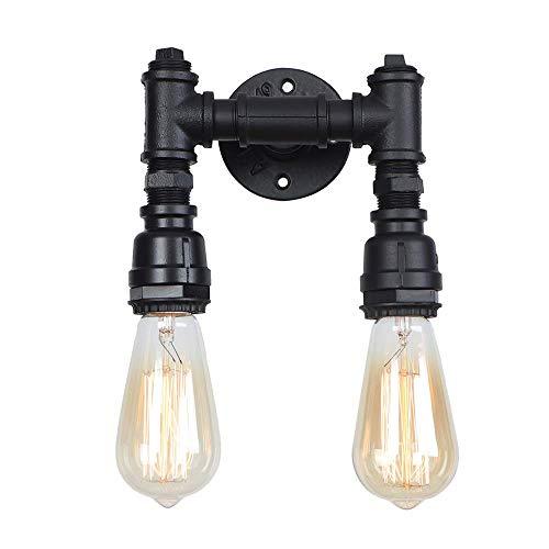 Wandlamp, vintage, moderne wandlamp, zwart, E27, fitting voor wasmachine, smeedijzer, dubbele kop, Edison, industriële wandlamp, binnen, eetkamer, loft, zwart