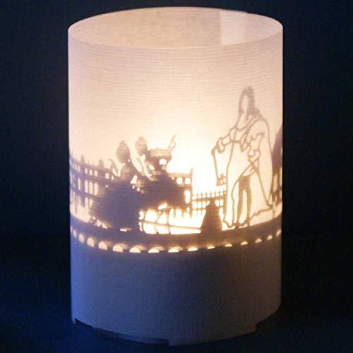 13gramm Versailles-Skyline Windlicht Souvenir in der Geschenk-Box, 3D Edelstahl Aufsatz für Kerze inkl. Kerze, Projektionsschirm