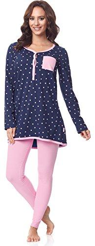 Be Mammy Damen Langarm Pyjama mit Stillfunktion BE20-178, Marine-Punkten-Rosa, XXL(Marine-Punkten-Rosa, XXL)
