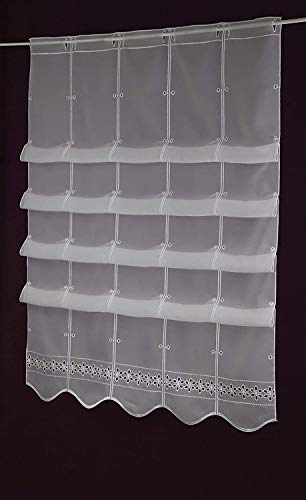 Gustav Gerster Raffrollo - Anfertigung nach Maß - Lamellen- Clip- Panneaux Scheibengardine Raffgardine Höhe 175 cm - Breite der Gardine durch Stückzahl in 15,5 cm Schritten wählbar weiß