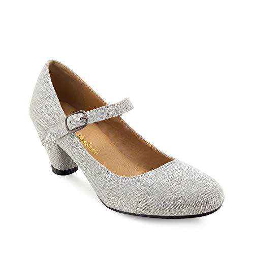 Andres Machado - Mary Jane Damenschuhe für Mädchen mit 5,0 cm Absatz – AM538 – Hohe Schuhe Damen/Pumps Blockabsatz – aus silbernem Stoff - EU 29