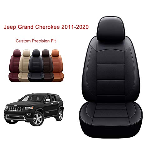 OASIS AUTO 2011-2020 Grand Cherokee Custom Fit Leather/Leatherette Seat Cover Compatible with 2011-2012-2013-2014-2015-2016-2017-2018-2019-2020 Grand Cherokee (2011-2020 Grand Cherokee, Black)