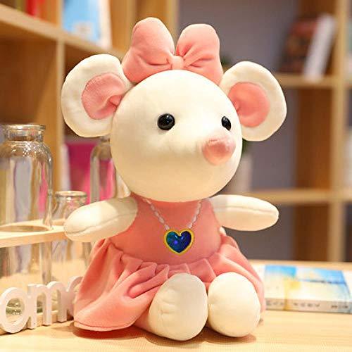 Lindo Juguete de Felpa Arco de Dibujos Animados Corazón Collar Ratón Vestido de niña Muñeca de Felpa Suave Cumpleaños About_35Cm_Pink