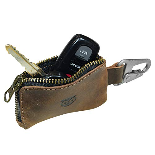 Hide & Drink, Rustic Leather Car Key Holder, Headphone & Charging Cables, Memory Cards, Flash Drives, Lighters, Cash Zipper Case with Clasp, Handmade Includes 101 Year Warranty :: Bourbon Brown