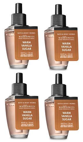 Bath and Body Works 4 Pack Warm Vanilla Sugar Wallflowers Fragrance Refill. 0.8 fl oz.