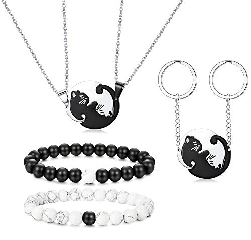 Thunaraz Stainless Steel Yin Yang Pet Cat Puzzle Pendant Necklace for Couples Couple Bracelet Valentines Day Gifts