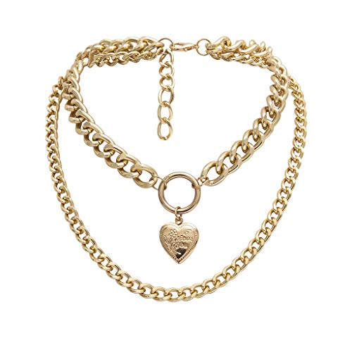 jieGorge Necklaces & Pendants, Chunky Gold Necklace Lock Padlock Locket Pendant Coin Curb Chain Layering Silver, Jewelry for Women Gifts (Gold)