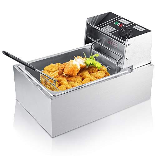 Freidora eléctrica de acero inoxidable 6L, freidora eléctrica con cesto y tapa Perfecta para restaurantes, cafeterías de supermercados y en casa 44 x 28,5 x 28 cm