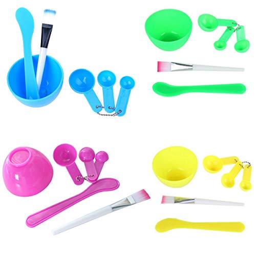 Yueser 5 Sätze DIY Gesichtsmaske Rührschüssel 4 in 1 Maske Schüssel mit Spachtel Gesichtsmaske Pinsel und MessungsLöffel Kit für Gesichtsmaske oder DIY Gesichtspflege Tool Kit (5 Colores)