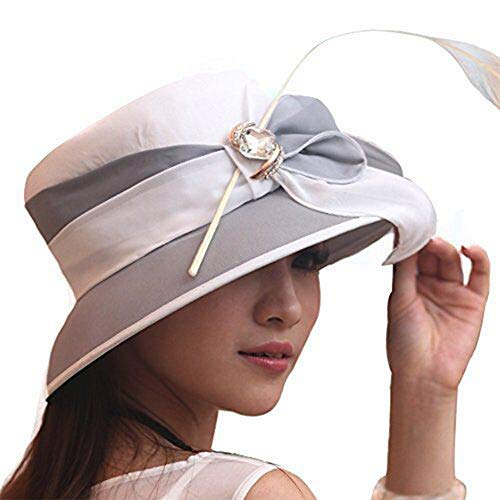 June's Young Women Church Hats with Feather Elegant Bucket Hats for Derby Event (Grey/White)