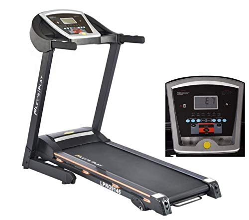 LET'S PLAY LP-NG9146 Automatic Treadmill 2.5HP Motor (Peak 4.5HP) Hydraulic Foldable Motorized Treadmill with Extra Suspension, Music Speaker, AUX Cable for Home Use.