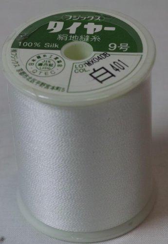 タイア絹ミシン糸  9号地縫い糸 500m 白