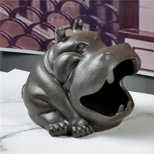 Powzz ornament Cenicero de Animales de Dibujos Animados Sala de Estar en casa Personalidad Creativa Adornos de hipopótamo platillo de Cigarrillos cenicero de Oficina-Alfarería Antigua