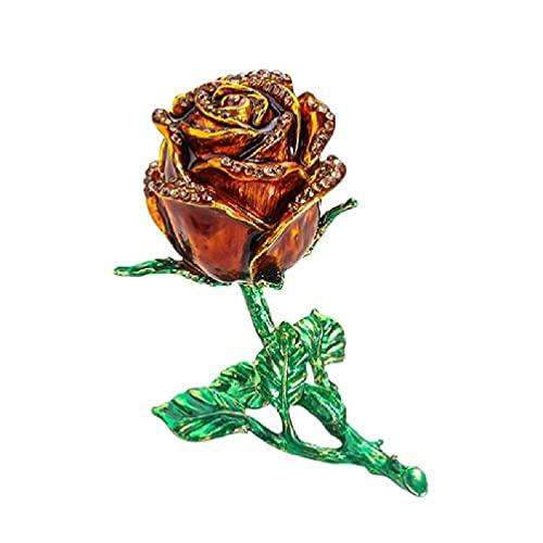 XINGYUE Caja de almacenamiento de joyería de flor de rosa de aleación creativa anillos de diamantes de imitación anillos caso anillo de seguridad boda
